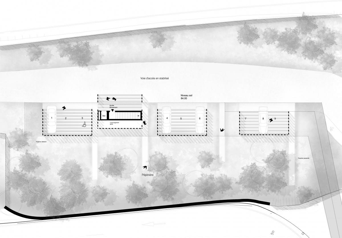Showroom de vente, eco quartier coeur d'orly : Plan rez de jardin