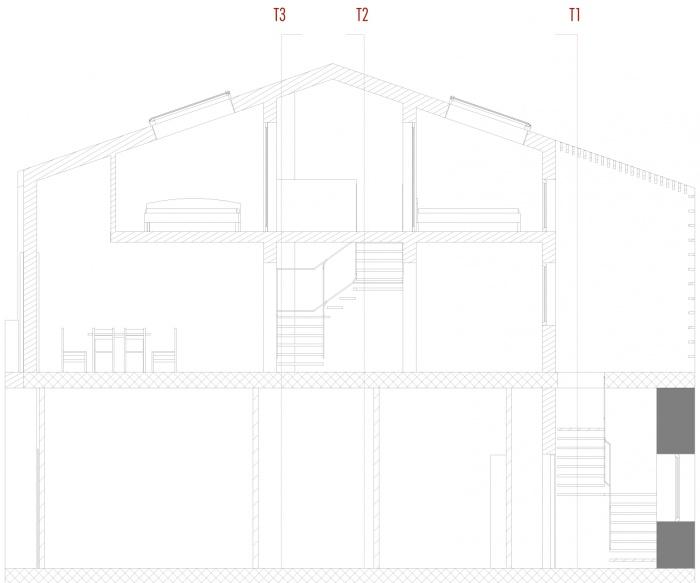 Casa Fleri : Coupe longitudinale