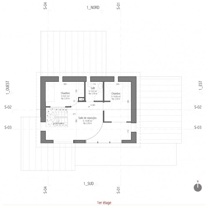 Projet d'une maison individuelle en bois, terre et paille : AE005 - PRO 10_R+1