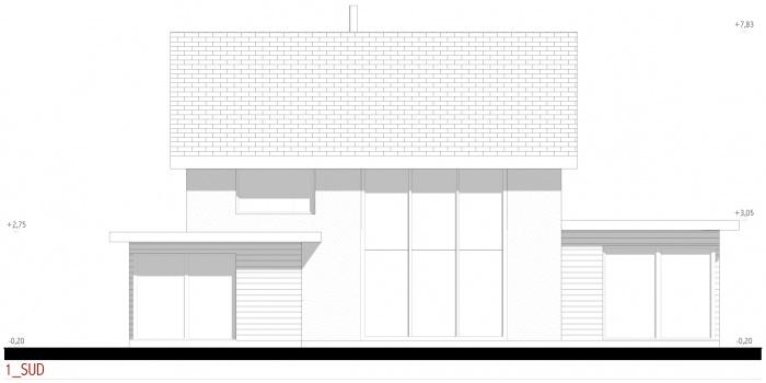 Projet d'une maison individuelle en bois, terre et paille : AE005 - PRO 10 - façades sud