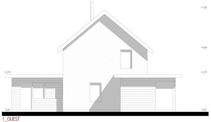 Projet d'une maison individuelle en bois, terre et paille : AE005 - PRO 10 - façades ouest