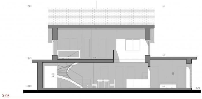 Projet d'une maison individuelle en bois, terre et paille : AE005 - PRO 10 - coupes 03