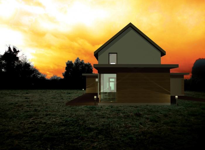 Projet d'une maison individuelle en bois, terre et paille