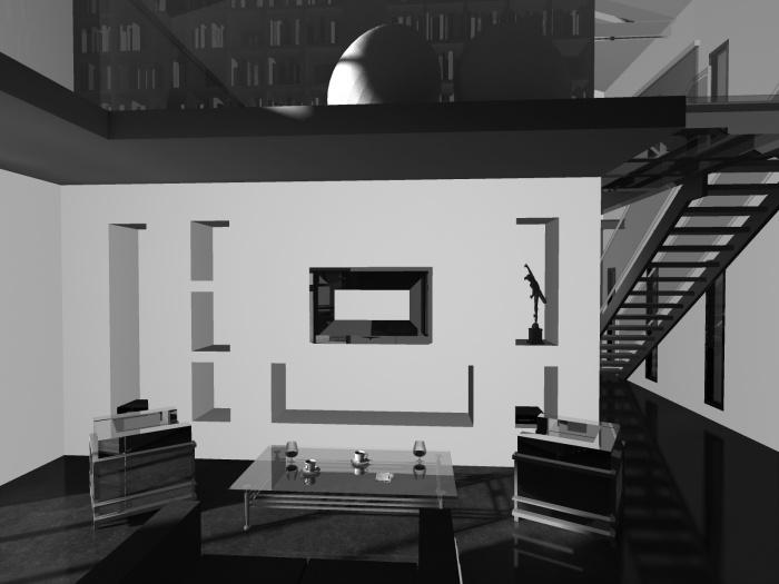 Creation d'une villa : vue du salon