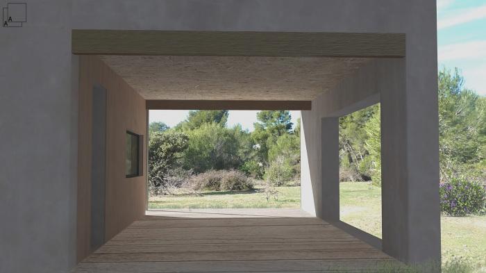 Conception d'une maison contemporaine en bois : maison-contemporaine-bois-perpective-terrasse-loggia