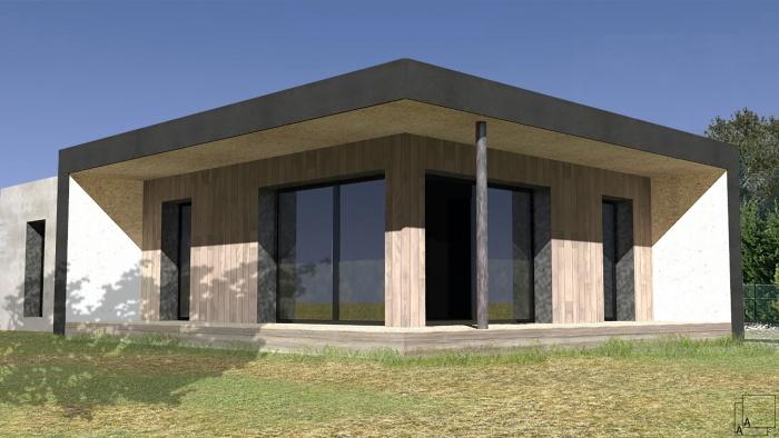 Conception d'une maison contemporaine en bois : villa-contemporaine-bois-casquette-loggia-terrasse-provence