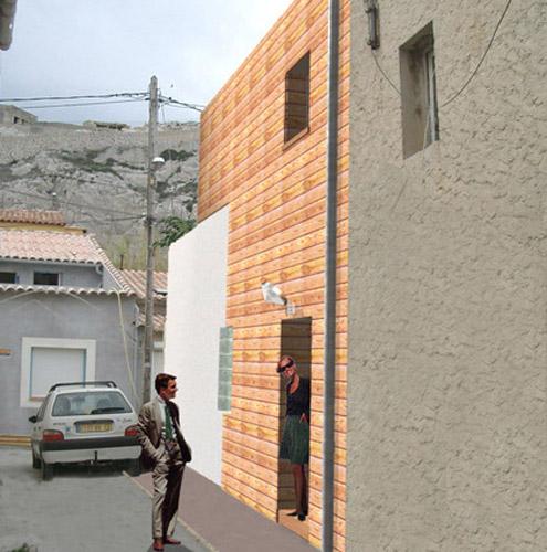 façade de maison carrelée